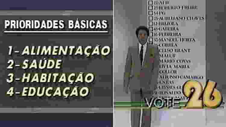 Silvio Santos apresenta propostas e ensina eleitores a votarem no 26 em campanha de 1989 - Montagem/Reprodução - Montagem/Reprodução