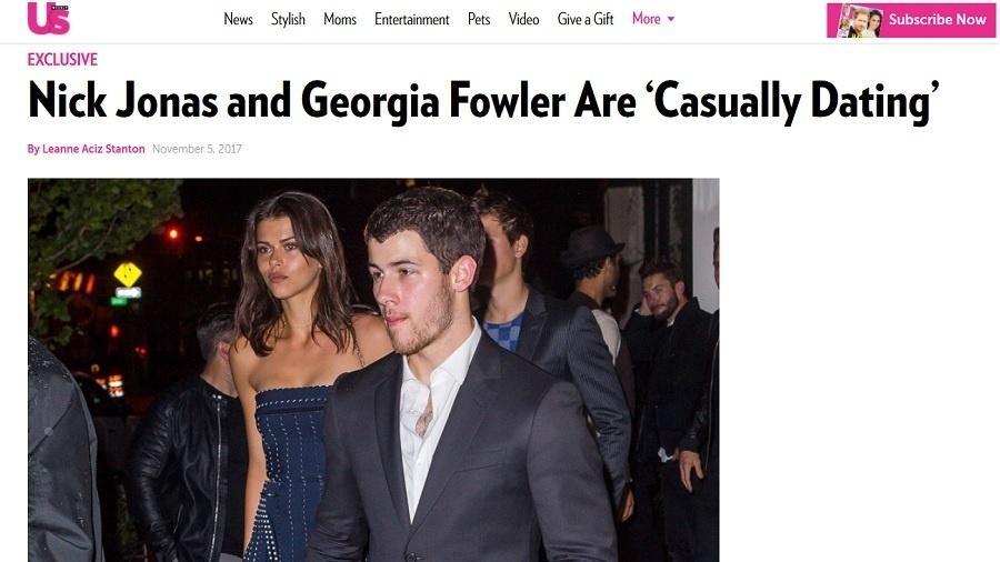 """Nick Jonas e Georgia Fowler saem juntos de festa de noivado de Joe Jonas, diz o site da revista """"US Weekly"""" - Reprodução/""""US Weekly"""""""