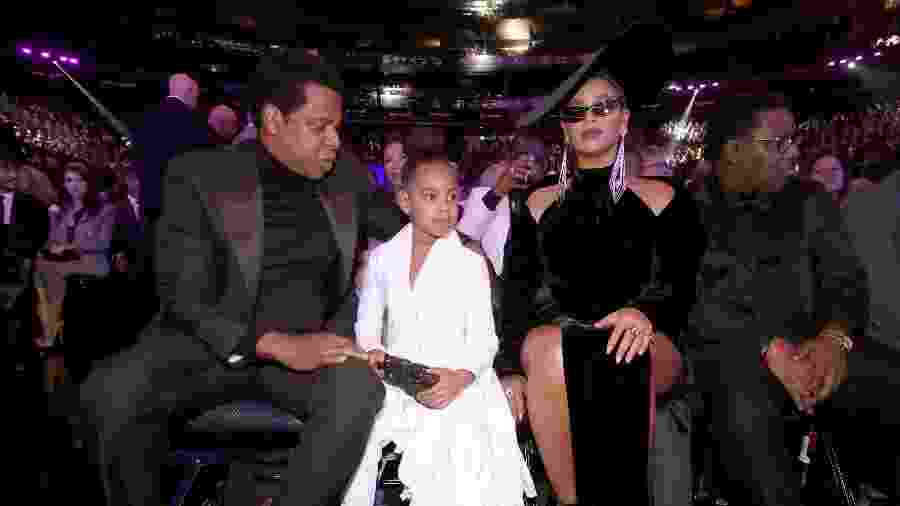 Jay-z, Blue Ivy e Beyoncé na plateia do Grammy 2018 - Getty Images