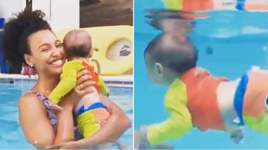 Sheron Menezzes mostra o filho de 4 meses nadando na piscina - Reprodução/Instagram