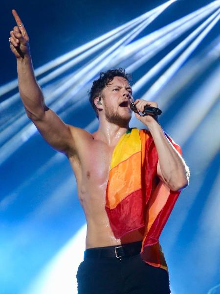 Dan Reynolds, vocalista do Imagine Dragons, durante show no Brasil - Manuela Scarpa/Brazil News