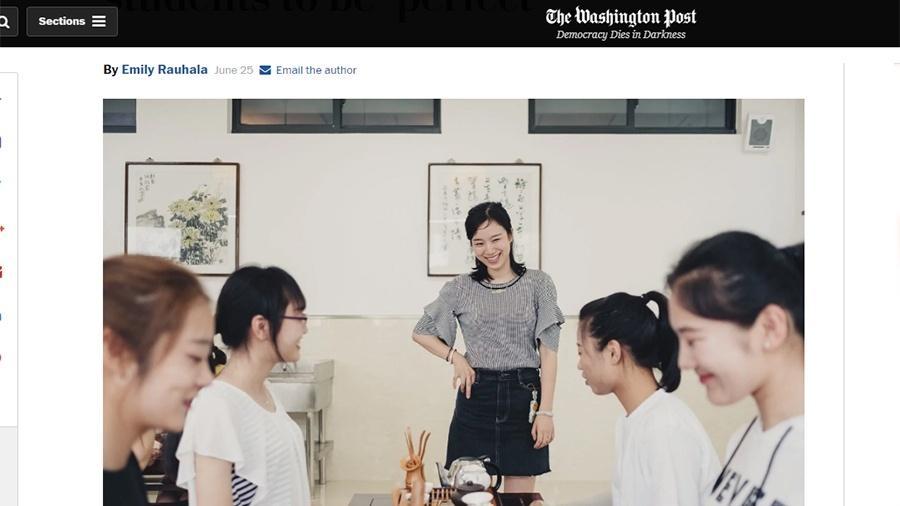 Matéria do The Washington Post sobre escola chinesa de mulheres - Reprodução/The Washington Post