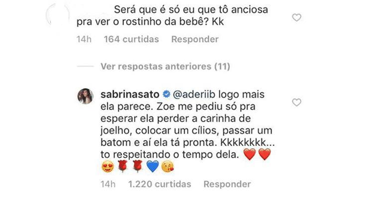 Sabrina explica a decisão de não mostrar o rosto de Zoe - Reprodução/Instagram - Reprodução/Instagram
