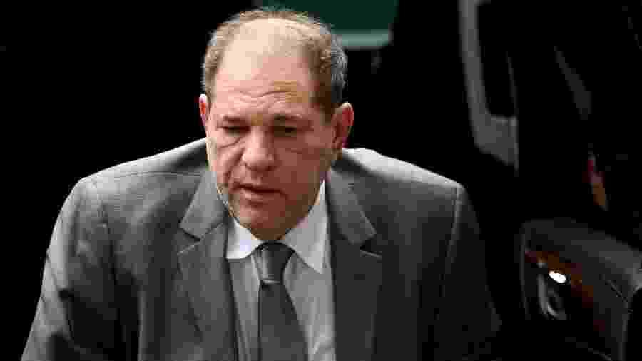 Harvey Weinstein ao chegar no Tribunal de Manhattan -  Johannes EISELE / AFP