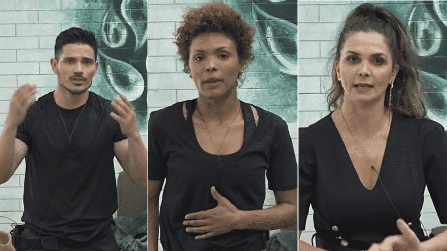 """JP Gadêlha, Lidi Lisboa e Luiza Ambiel estão na 2ª roça de """"A Fazenda 12"""" - Reprodução/PlayPlus"""