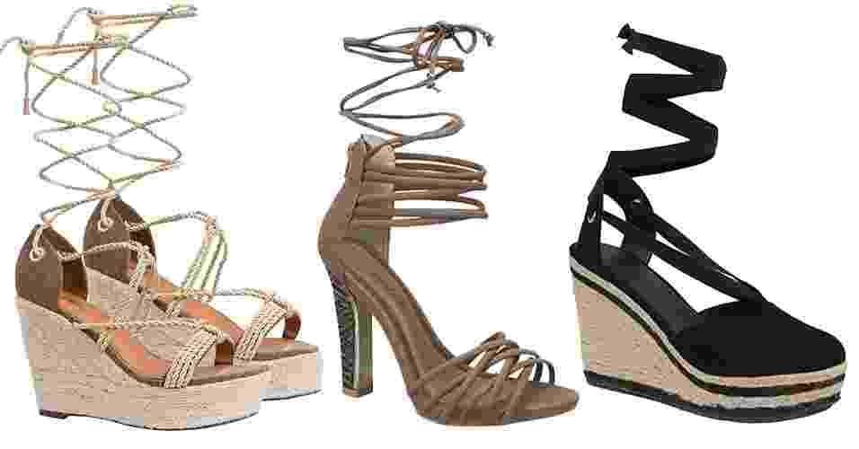 A sandália gladiadora é uma das tendências que mais entram e saem de moda. Para o próximo verão, ela volta repaginada, mais delicada e sensual, com cordão amarrado pela panturrilha em diferentes materiais e versões. A seguir, veja 20 opções de sandálias trançadas - Divulgação