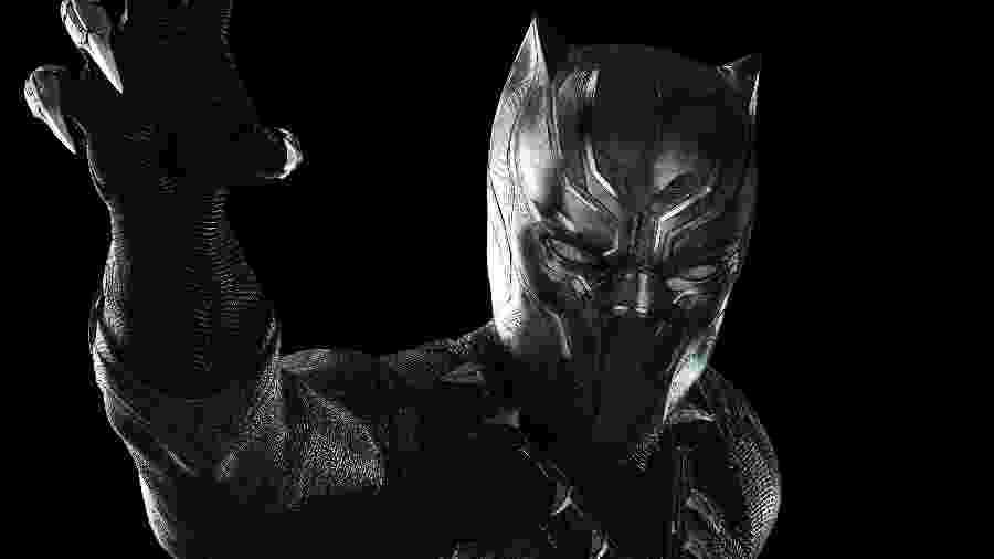 """Pantera Negra, personagem de Chadwick Boseman do filme """"Capitão América: Guerra Civil"""", que estreia no Brasil  no dia 28 de abril de 2016 - Divulgação"""