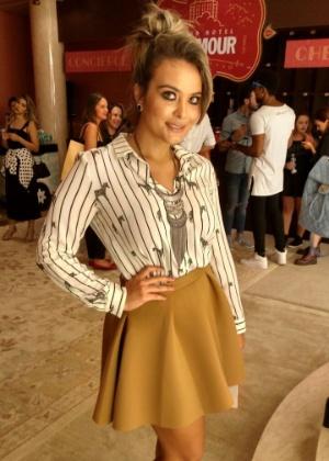 26.abr.2016 - Geisy Arruda surge repaginada na São Paulo Fashion Week - Felipe Abílio/UOL