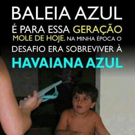 """Meme sobre """"Baleia Azul"""" que circula em grupos de Facebook e WhatsApp banaliza o sofrimento dos jovens - Reprodução/Facebook"""