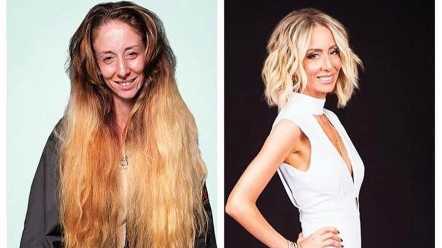 O antes e depois de Holly, segurança de uma fábrica em Destin, na Flórida - Reprodução/Instagram