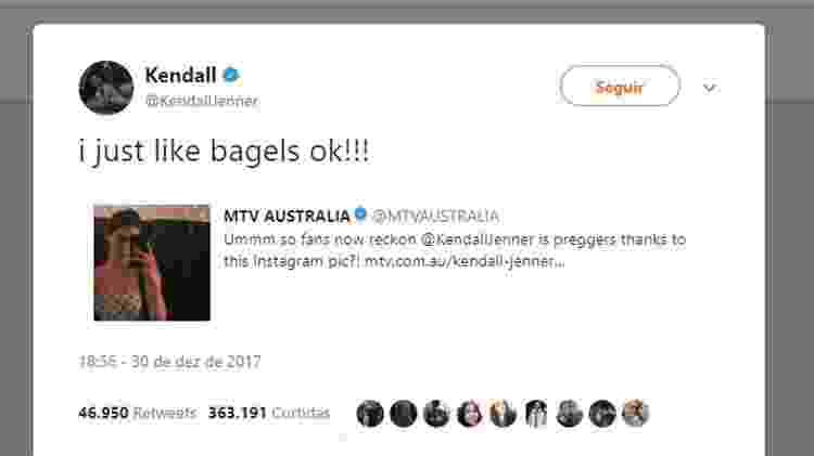 Tweet da Kendall Jenner - Reprodução/Twitter - Reprodução/Twitter