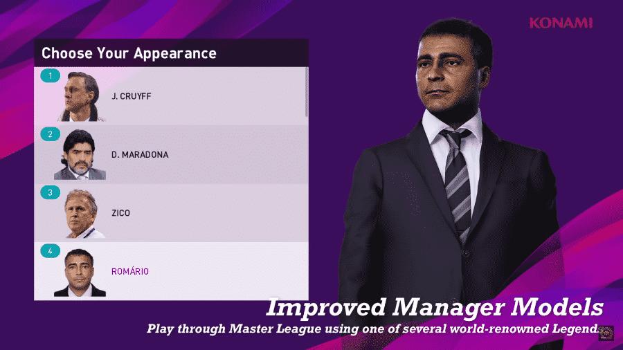 Romário como dirigente no Liga Master do PES 2020 - Reprodução