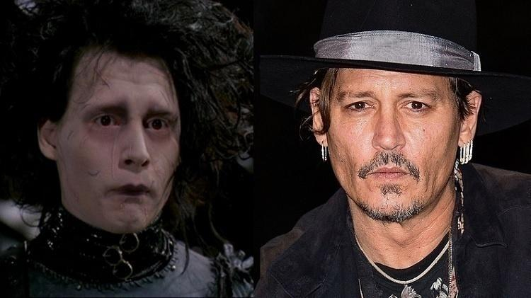 """Antes e depois do elenco de """"Edward Mãos de Tesoura"""""""