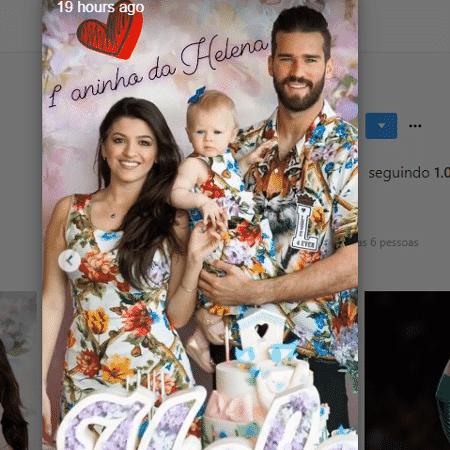 Alisson Becker com a filha e a mulher - Reprodução/Instagram