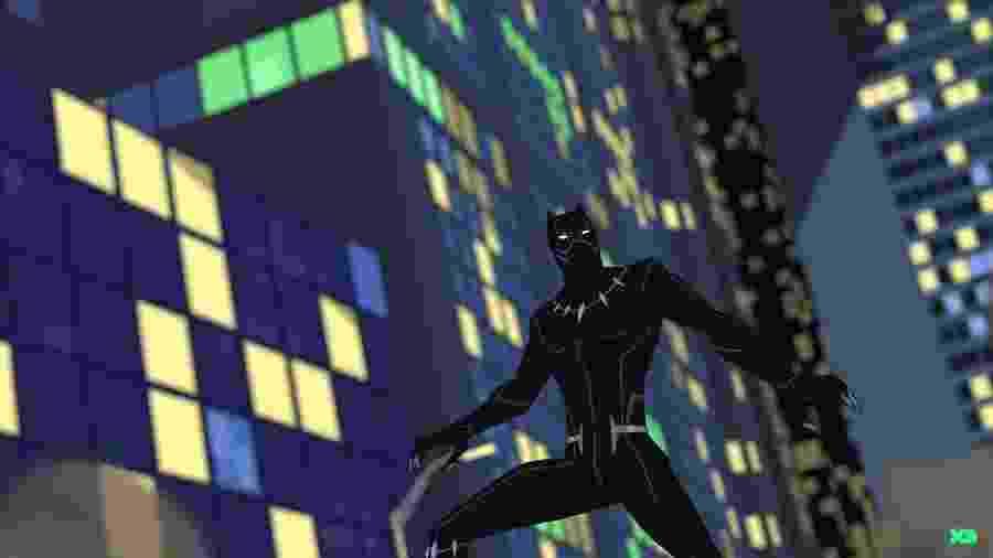"""O Pantera Negra em cena de """"Marvel's Avengers: Black Panther's Quest"""" - Reprodução/YouTube"""
