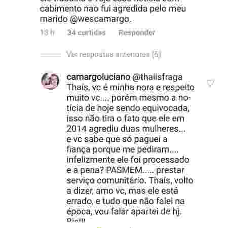 Luciano responde a nora no Instagram - Reprodução/Instagram - Reprodução/Instagram