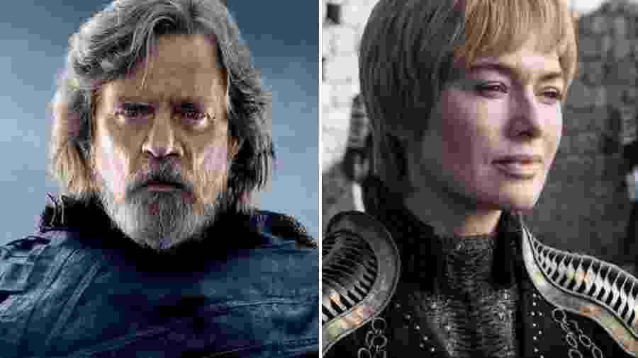 """Mark Hamill em """"Star Wars"""" e Lena Headey em """"Game of Thrones"""", respectivamente - Reprodução"""