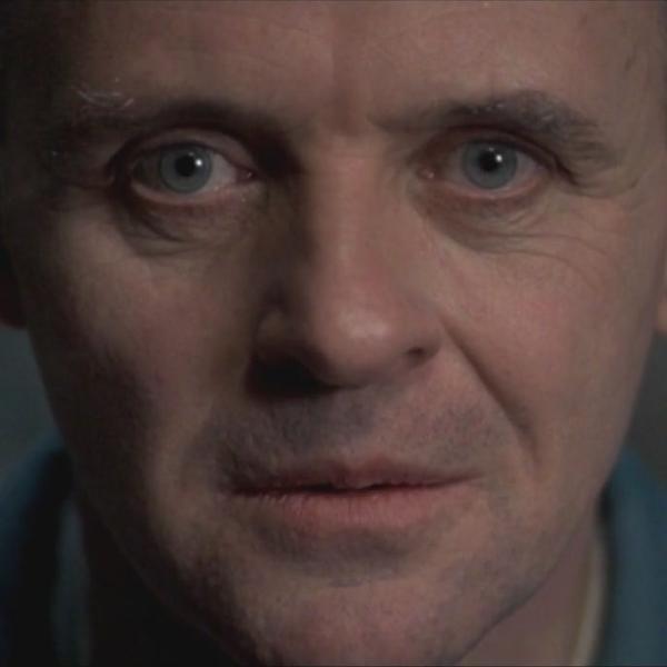 Anthony Hopkins como o Dr. Hannibal Lecter em 'O Silêncio dos Inocentes'
