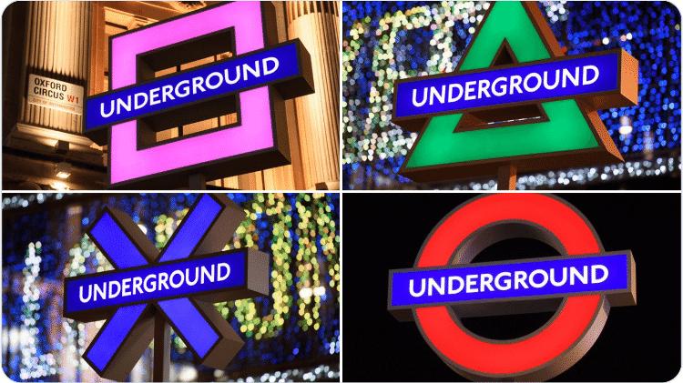 Sinais do metrô de Londres com símbolos do controle do PS5 - Divulgação (Sony) - Divulgação (Sony)