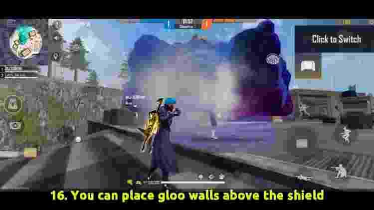 Free Fire É possível colocar paredes de gel em cima do campo de força. - Reprodução/Youtube/BrOkEn JoYsTiCk - Reprodução/Youtube/BrOkEn JoYsTiCk