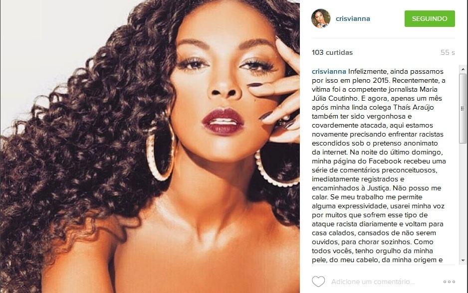 """Cris Vianna desabafa após receber comentários racistas em suas fotos do Facebook: """"A essa minoria cega e burra, minha pena"""""""