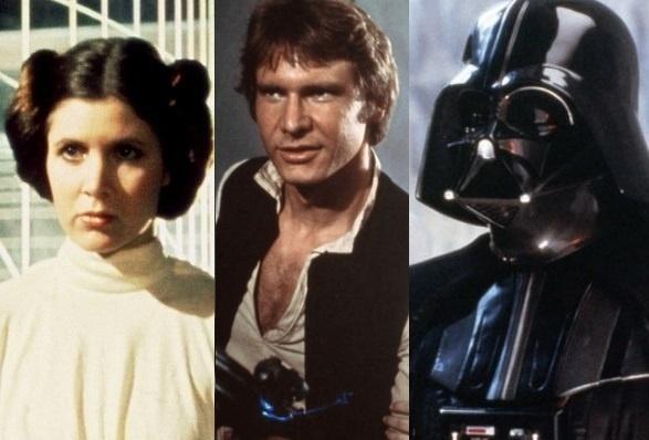 Os personagens Leia, Han Solo e Darth Vader