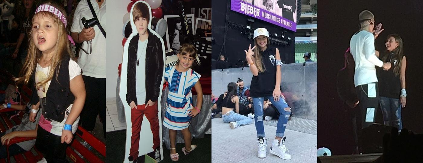 Mel Bessone, de 10 anos, que é fã de Justin Bieber há pelo menos 6, realiza o sonho de dançar no palco com o cantor canadense - Arquivo pessoal