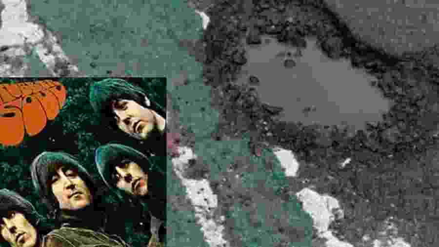 """Paul McCartney da capa do disco """"Rubber Soul"""" e o buraco - Reprodução/Lancashire Evening Post"""
