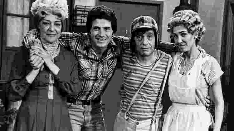 Hector Bonilla com Angelines Fernández (Bruxa do 71), Roberto Gómez Bolaños (Chaves) e Florinda Meza (Dona Florinda) - Divulgação/Televisa - Divulgação/Televisa