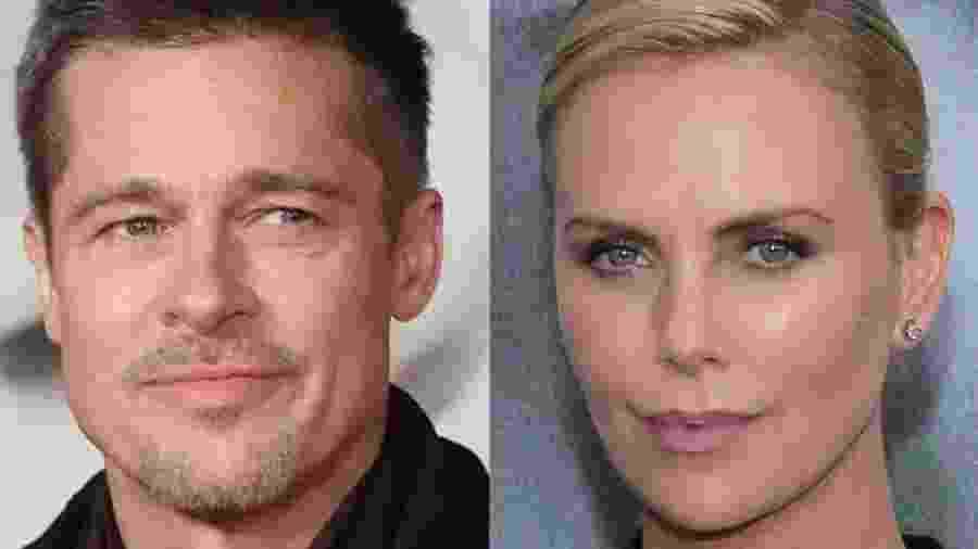 """Brad Pitt e Charlize Theron estariam tendo um romance, segundo """"The Sun"""" - Colagem/UOL"""