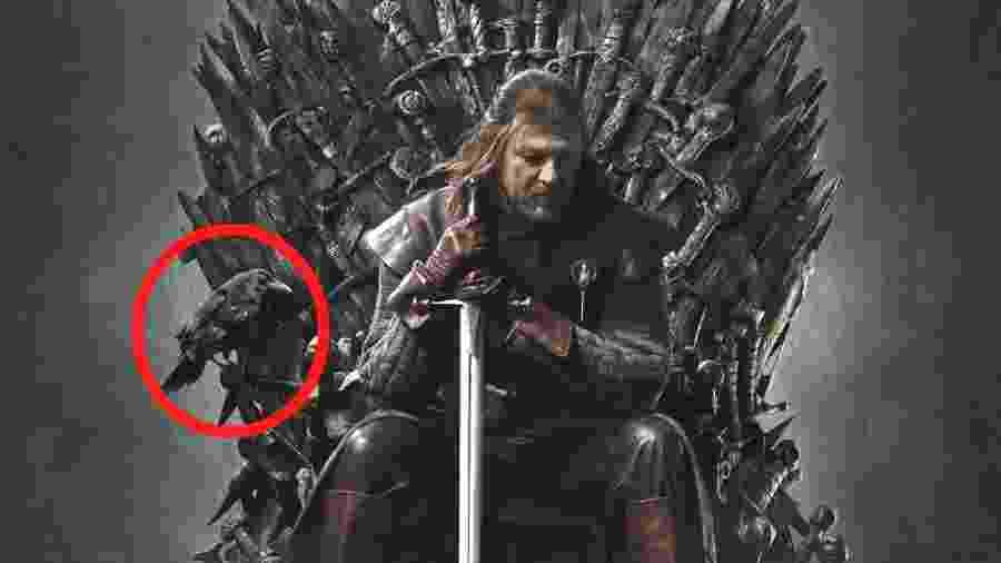 """Corvo aparece no pôster da primeira temporada de """"Game of Thrones"""" - Divulgação/Montagem UOL"""
