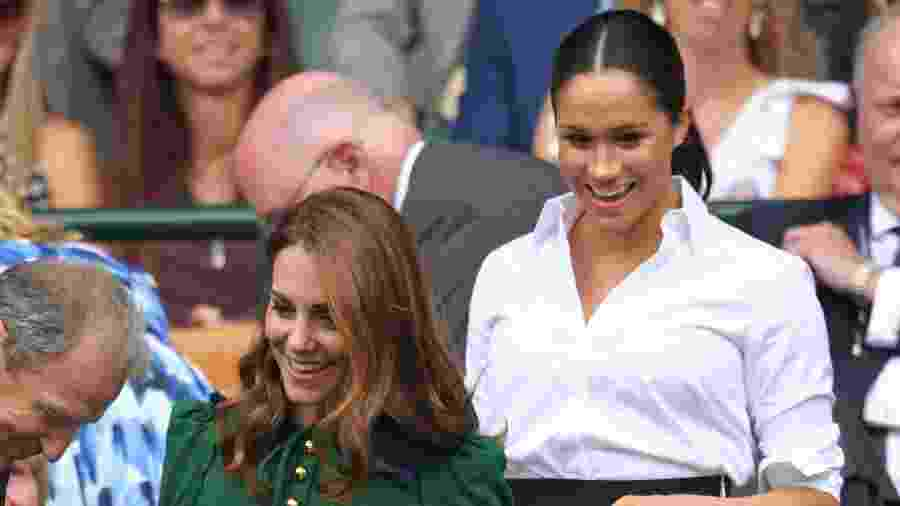 Kate Middleton e Meghan Markle na final feminina de torneio de tênis em Wimbledon - Karwai Tang/Getty Images