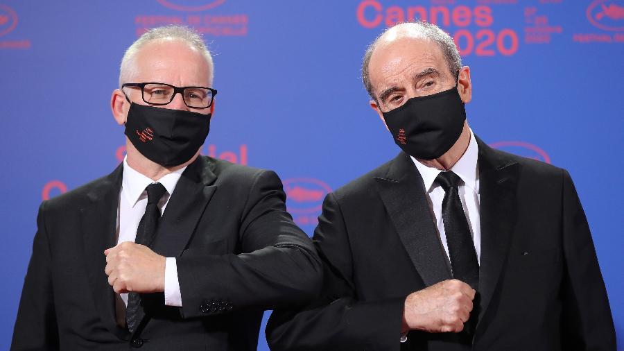 Thierry Fremaux (à esq.) delegado geral de Cannes e Pierre Lescure (à dir.) presidente do festival - VALERY HACHE/AFP