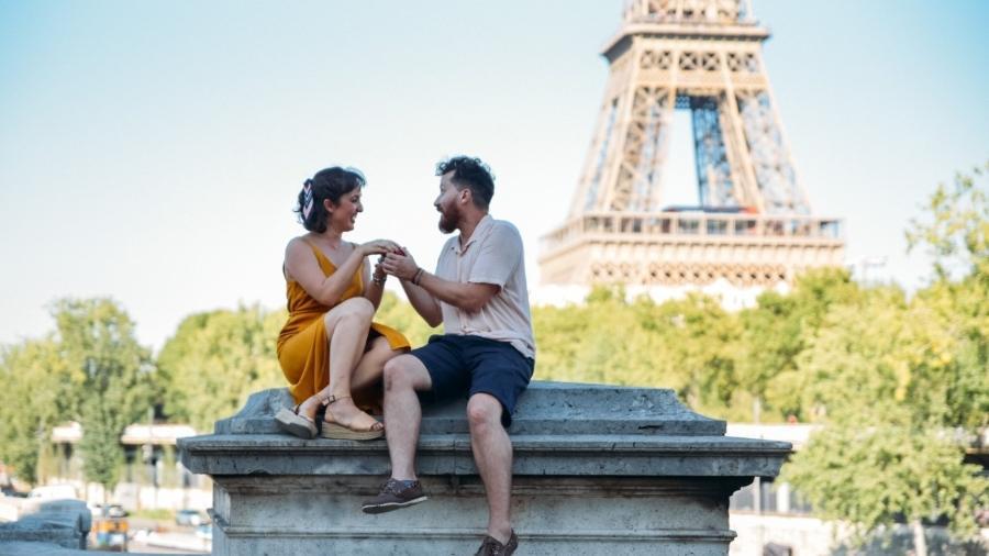 No mais romântico dos cenários, Gaia Vani sacou a aliança e surpreendeu o namorado - Arquivo pessoal