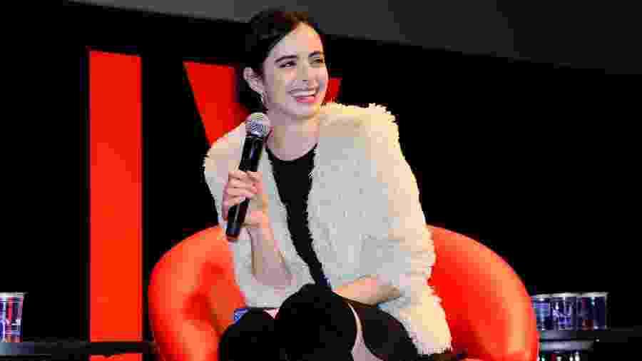 """4.dez.2015 - Krysten Ritter, do seriado """"Jessica Jones"""", bate papo com fãs durante a Comic Con Experience, em São Paulo - Leo Franco/AgNews"""