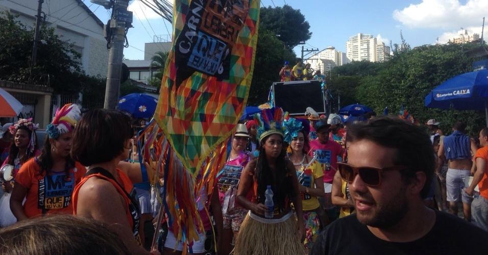 14.fev.2016 - Bloco Me Lembra Que Eu Vou leva cerca de 500 pessoas à Vila Madalena, em São Paulo. No repertório, marchinhas e sucessos do sertanejo, axé, MPB e funk