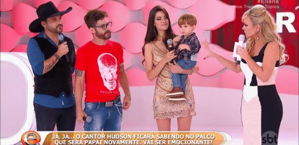 Sertanejo Hudson fica sabendo que será pai novamente durante programa de TV - Reprodução/SBT