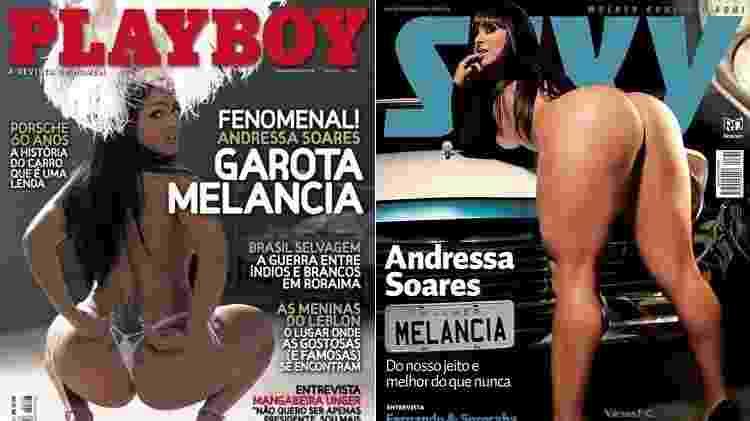 Andressa Soares, a Mulher Melancia, tirou a roupa para as revistas Playboy e Sexy - montagem/UOL/Reprodução/Playboy/Sexy - montagem/UOL/Reprodução/Playboy/Sexy