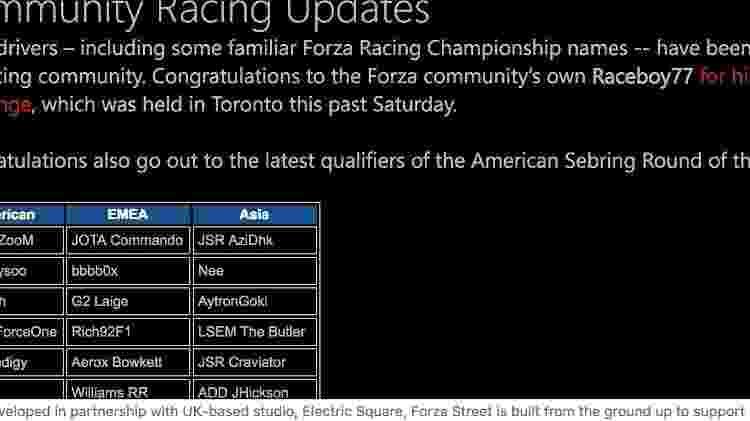 """""""Forza Street"""" foi listado erroneamente em um apontamento errado de """"URL"""" dentro do site oficial do jogo. - Reprodução"""