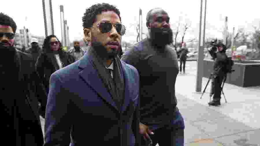 14/03/2019 - Jussie Smollett chega ao tribunal em Chicago - Nuccio DiNuzzo/Getty Images/AFP