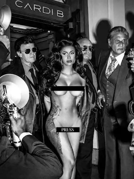 """Cardi B aparece nua e coberta apenas por tarjas em capa de seu novo single, """"Press"""" - Reprodução/Instagram"""