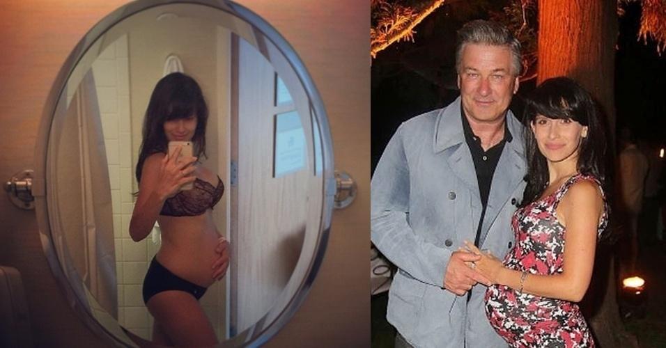 19.jun.2015 - Hilaria, mulher do ator norte-americano Alec Baldwin, surpreendeu seus seguidores no Instagram ao publicar uma foto de si mesma, nesta sexta-feira, usando apenas lingerie