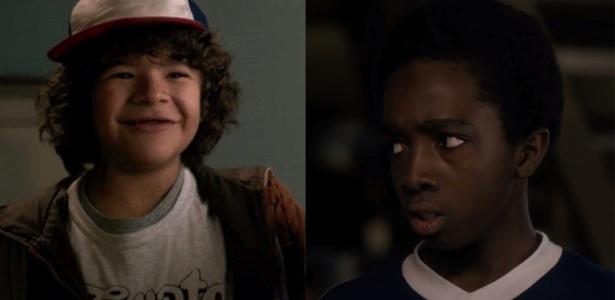 Os atores Gaten Matarazzo, que interpreta Dustin, e Caleb McLaughlin, que vive o garoto Lucas - Divulgação /Montagem UOL