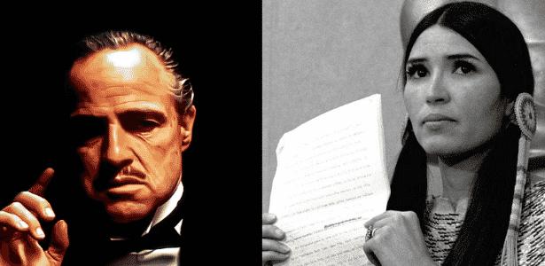Brando, que recusou Oscar e enviou uma integrante do movimento indígena para representá-lo - Reprodução/Montagem - Reprodução/Montagem