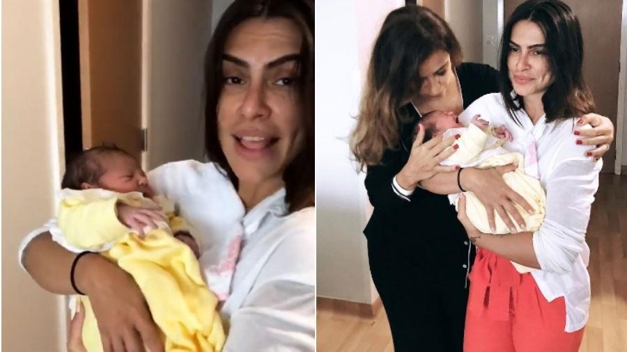 Cleo Pires segura Amora, filha de Paula Morais - Reprodução/Instagram