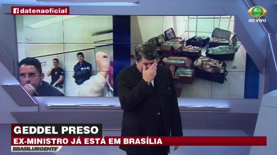 """Datena """"chora"""" ao vivo e ironiza ex-ministro preso - Reprodução/TV Bandeirantes"""
