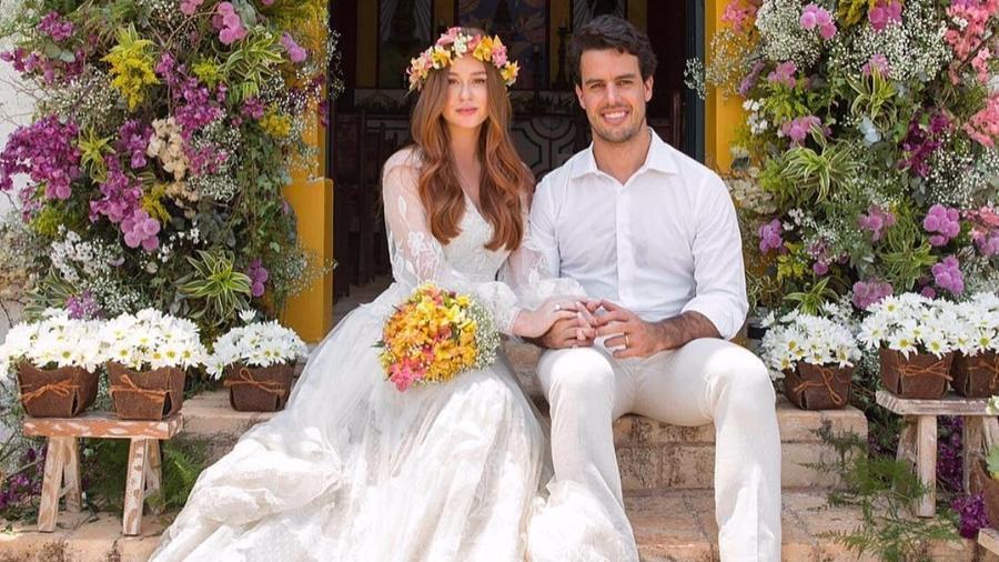 Marina Ruy Barbosa e o marido, Xandinho Negrão, no casamento religioso - Reprodução/Instagram
