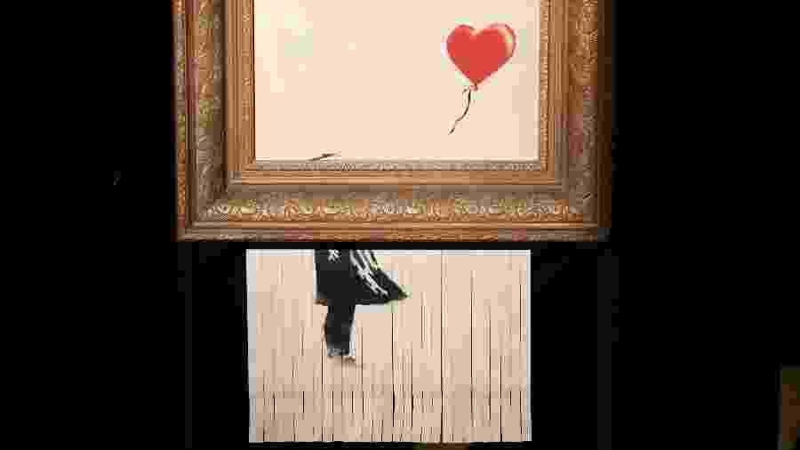 """""""Love is in the Bin"""" (2018), de Banksy - Tristan Fewings/Getty Images"""