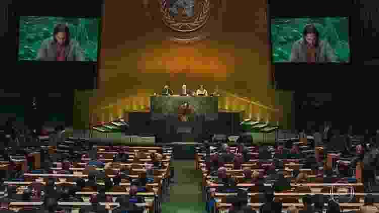 Davi Moretti discursou na ONU no final de 'Amor de Mãe' - Reprodução/TV Globo - Reprodução/TV Globo