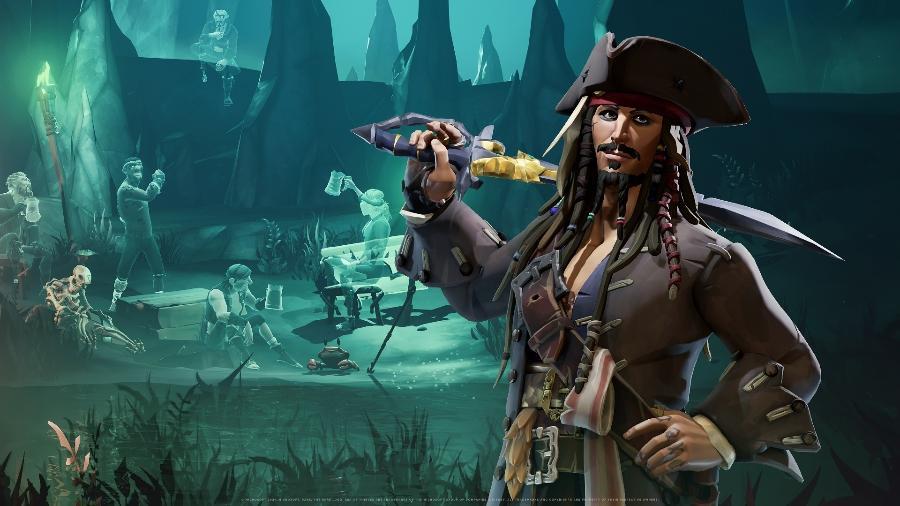 """Jack Sparrow é a estrela da expansão A Pirate""""s Life - Divulgação/Microsoft"""